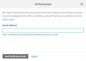 Verification mail hos Mailchimp
